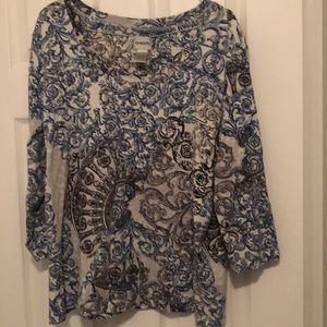 Chico's Size 3 blue, black & white top